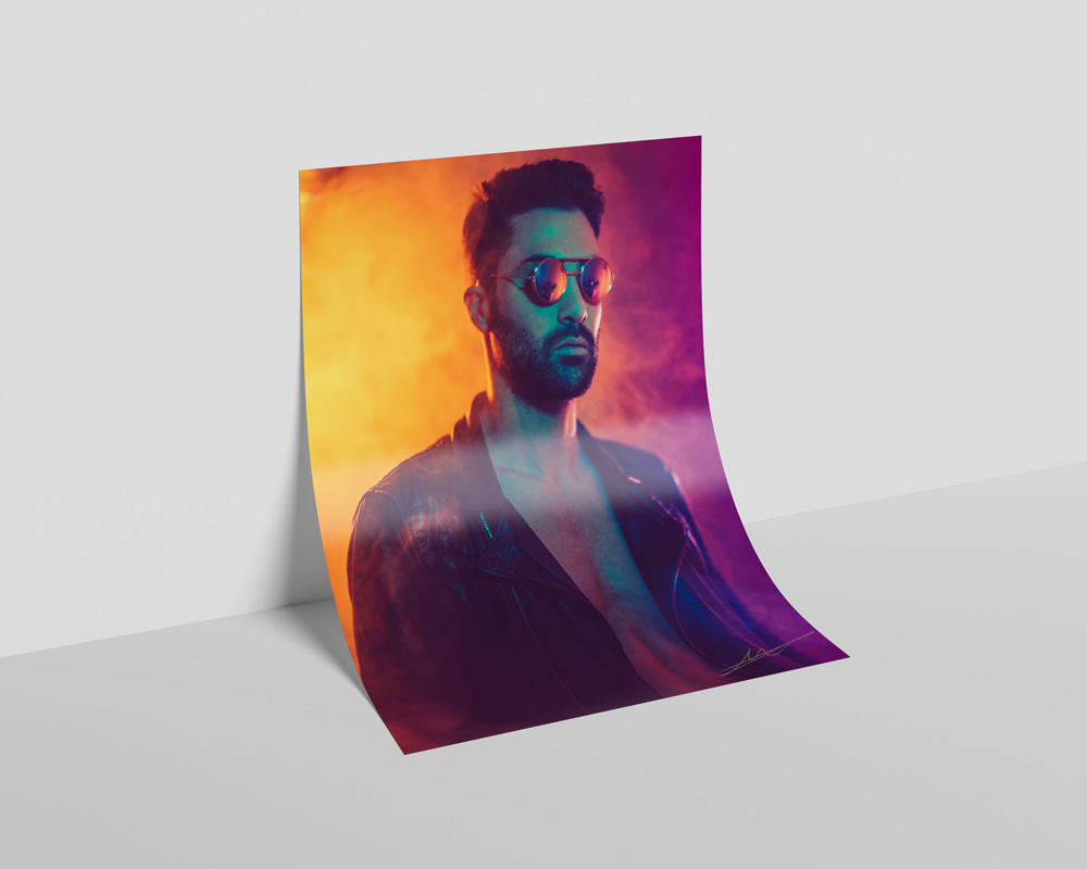 Roberto Vivancos Studio Poster Design - Neon Lights Man Portrait