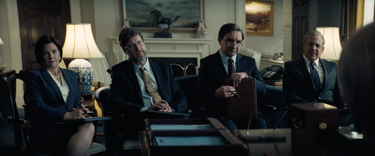(From L to R) Camille Harman as Mary Matalin, Don McManus as David Addington, Eddie Marsan as Paul Wolfowitz, and Steve Carell as Donald Rumsfeld in Adam McKay's VICE, an Annapurna Pictures release. Credit : Annapurna Pictures 2018 © Annapurna Pictures, LLC. All Rights Reserved.